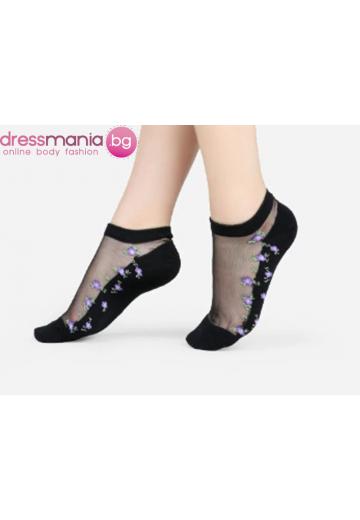 Копринени дамски чорапи с декоративена флорална бродерия 2205