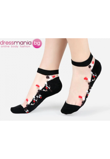 Копринени дамски чорапи с декоративена флорална бродерия 2205BB