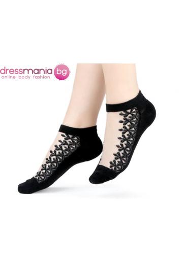 Копринени дамски чорапи с декоративена флорална бродерия 2205Bais