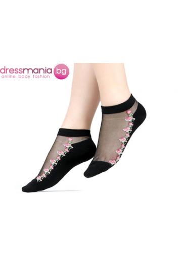 Копринени дамски чорапи с декоративена флорална бродерия 2205H