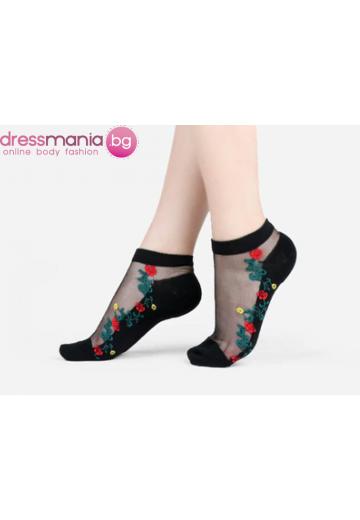 Копринени дамски чорапи с декоративена флорална бродерия 2205P