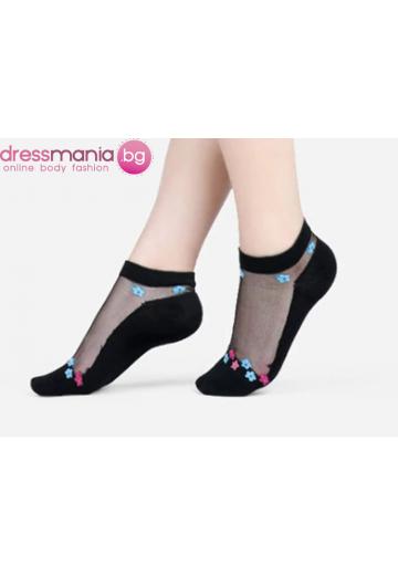 Копринени дамски чорапи с декоративена флорална бродерия 2205QS
