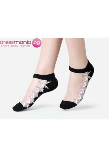 Копринени дамски чорапи с декоративена флорална бродерия 2205SS
