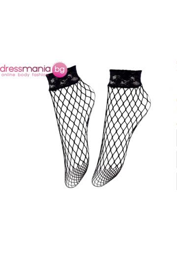 Дамски къси мрежести чорапи в черно Aidomy D