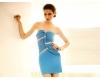 Официална синя рокля без презрамки