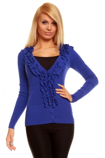 Син пуловер жилетка