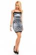 Атрактивна рокля със сив фронтален принт