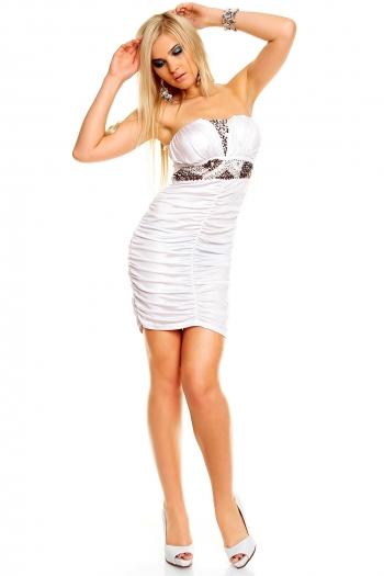 Атрактивна къса рокля с акрилна декорация