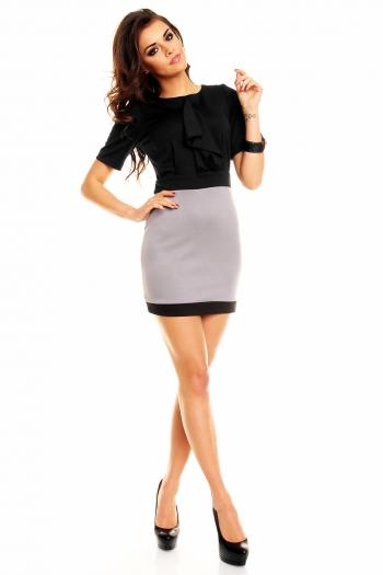 Ефектна двуцветна рокля в черно и сиво