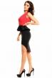 Крепирана асиметрична рокля с единична презрамка