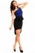 Крепирана асиметрична рокля в черно и синьо