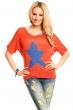 Пуловер в оранжево със звезда