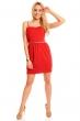 Нежна рокля в алено червено и златисто
