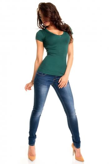 Зелена блуза с къс ръкав
