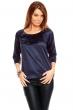 Елегантна блуза в синьо с матов блясък