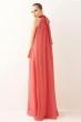 Дълга разкроена рокля цвят диня