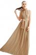 Дълга разкроена рокля цвят опушено кафяво