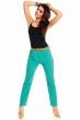 Стилен изумрудено зелен панталон с цветен колан