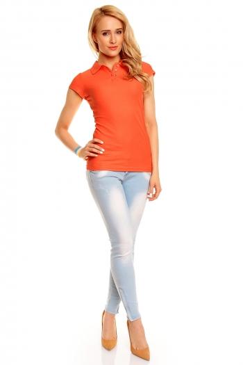 Поло тениска Eight2Nine в цвят прасковен корал