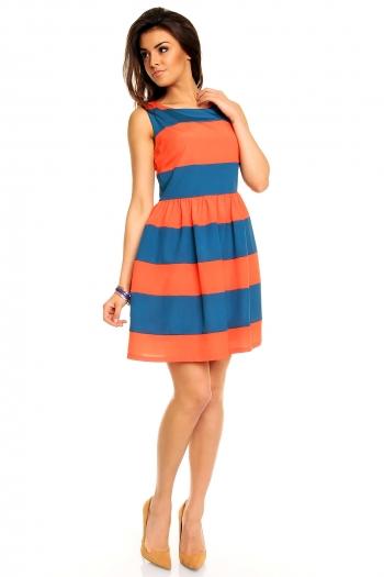 Разкроена лятна рокля в два цвята