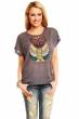 Сиво-кафява тениска сова принт
