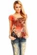 Лятна блуза в червено-оранжево