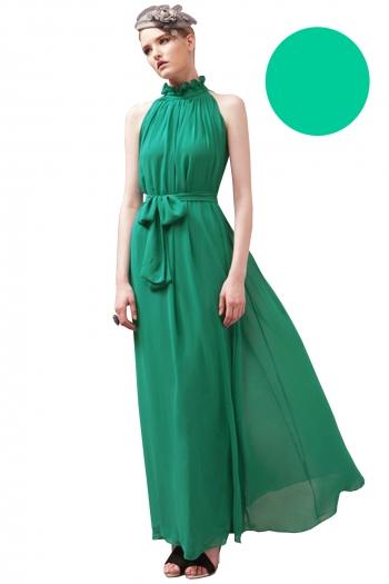 Дълга разкроена рокля цвят тюркоазено зелено