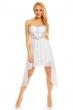 Асиметрична бяла рокля с ефектна акрилна декорация