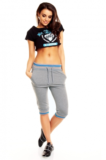 Спортна дамска долница сиво и синьо