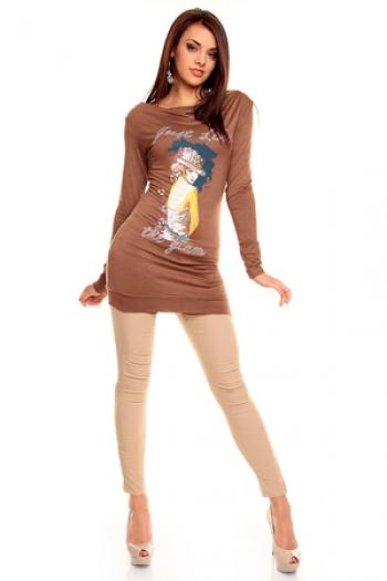 Дълга кафява блуза с апликация