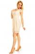 Крем дантелена рокля с колан и ефектни ръбове