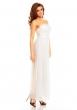 Дълга официална рокля бял крем