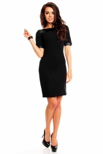 Атрактивна рокля с прав силует и кожени части