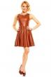 Атрактивна разкроена камел кожена рокля
