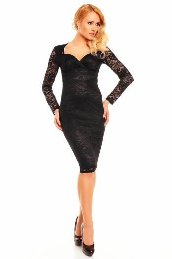 Изящна черна дантелена рокля