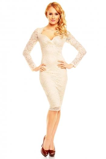 Изящна ванилия дантелена рокля Mayaadi