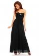 Официална дълга черна рокля с тънки презрамки Charm´s