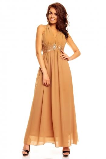 Дълга рокля с гол гръб в цвят охра