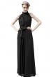 Дълга разкроена рокля цвят черен