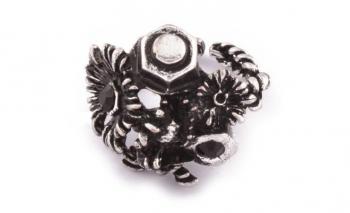 Дамски пръстен с флорални мотиви в сребристо