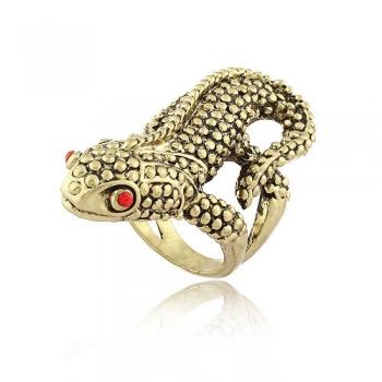 Дамски пръстен - гущер старо злато