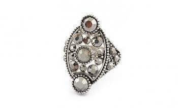 Стилен дамски пръстен със сиви кристали Dekolte
