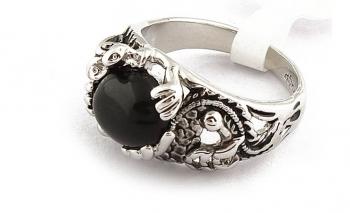 Стилен дамски пръстен с черен камък Dekolte