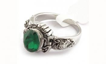 Стилен дамски пръстен със зелен камъкDekolte