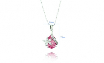Изискано дамско колие Swarovski с розов кристал