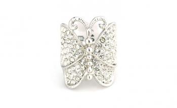 Пръстен кристална масивна пеперуда Dekolte