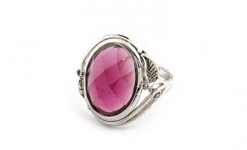 Стилен дамски пръстен с тъмно червен камък Dekolte