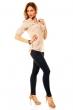Памучна дамска блуза в бежово с намачкан ефект