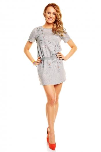 Сива памучна рокля с декорация Flame Paris