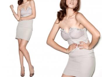 Сива рокля по тялото Chrome